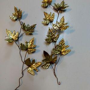 2 Vintage Home Interiors brass leaf accent stems